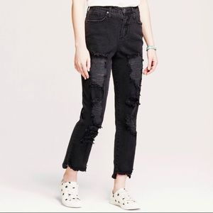 Mossimo 8/29 High rise mom embroidered rip jeans